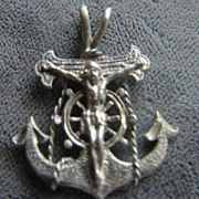 Jesus Nautical Ship Anchor Sterling Silver Pendant