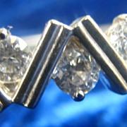Silver Plated White Rhinestone Hinge Bracelet