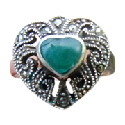Sterling Silver Apple Jade Marcasite Ring size 6