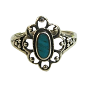 Sterling Silver Turquoise Filigree Ring Size 5 1/2