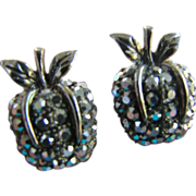 Vintage Apple Shaped Marcasite Clip Earrings