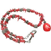 Red Coral Dog Bone Sterling Silver Necklace