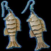 Lovely Vintage  Pressed Imprinted Fish Dangle Earrings