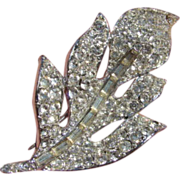 Large Vintage White Rhinestone Leaf Brooch Pin
