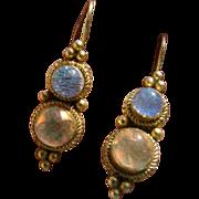 SOLD Custom Diochroic Dangle Earrings Sterling Silver