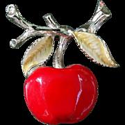 Vintage Bright Red Enameled Apple Brooch Pin Gerrys