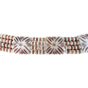 1940 Ox bone  Hand Carved Stunning Choker Necklace