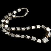 Vintage Brass Big Bold Retro Hand Made Box Necklace