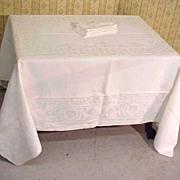 Damask Linen Banquet Tablecloth + Napkins Set Grape Heirloom