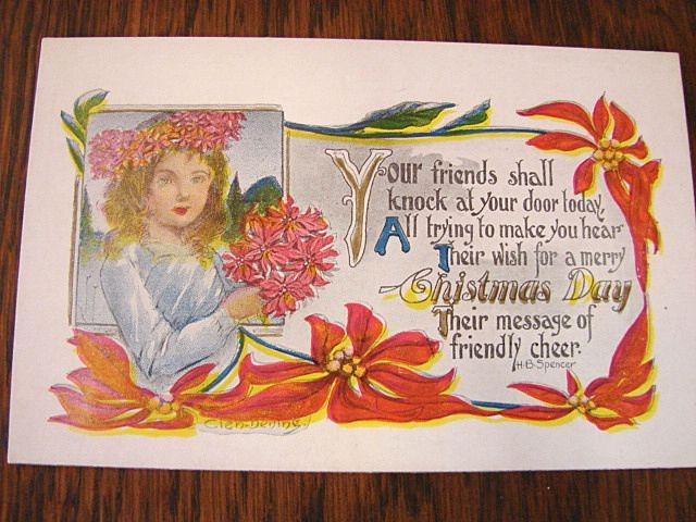 :    4 Unused Artist Signed Christmas Post Cards Clen Dening and H. B. Spencer
