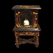 Japanned Painted China Cabinet Vitrine  Miniature Dollhouse Furniture Vintage & Miniature Doll