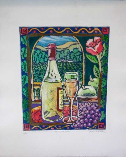 """Stephen Whittle Fine Art Limited Edition Serigraph Textured Print """"Fruit and Wine"""" Vintage Superb Store or Decorator Scarce Print"""