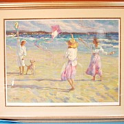 Kite Festival Beach Scene Limited Edition Artist Proof Signed Don Hatfield AP#38/64 Custom Con