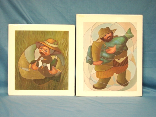 2 Limited Edition Art Print Pair Dixie Rogerson Artist Duck Hunter & Blue Fish 1984 1985