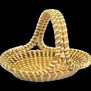 Charleston Sweetgrass Basket, Oval with Handle, Handmade African American Folk Art