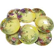 """Set of 8 Beautiful T&V Limoges 9"""" Plates, Fruits, Flowers, Bees, Dragonflies"""
