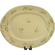 M. Redon Limoges Extra Large Serving Platter, Pink Roses