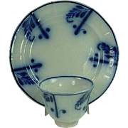 Early 1800's Staffordshire Flow Blue Plate & Handleless Cup