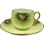 Hand Painted Roses and Gold Cup and Saucer, Germany