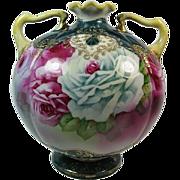 Fabulous Nippon ROSES Double Handle Ball Vase, Gilt Enamel