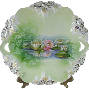 SALE R S Prussia Reflecting Water Lilies Cake Plate, Icicle Mold
