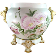 Limoges Large Jardiniere on Stand, Lion Handles, Paw/Claw Feet, Hand Painted Poppies, Gold Tri