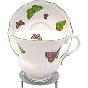 Crown Staffordshire Butterfly Bone China Cup & Saucer, Display Stand Included