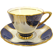 Royal Stafford Cobalt and Gold Bone China Cup and Saucer