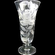 Signed Franz Grosz Sand Carved Rose Vase