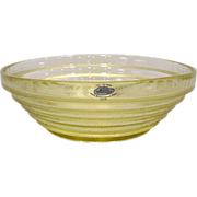 Blenko Glass Large Stepped Yellow Bowl