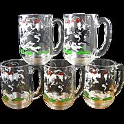 Set of 5 Libbey Tally Ho Glass Mugs