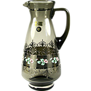Egermann Bohemian Glass Smoke Pitcher with Silver & Raised Enamel Decoration