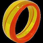 SALE Retro Orange Yellow Lucite Bangle