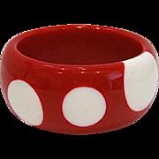 SALE Big Chunky Red & White Polka Dot Bangle Bracelet