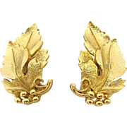 SALE Pair of Lisner Gold Leaf Clip Earrings
