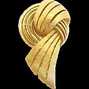SALE Trifari Gold Tone Swirled Ribbon Brooch