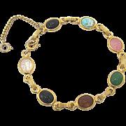 SALE Gold Fill Multi Color Scarab Bracelet