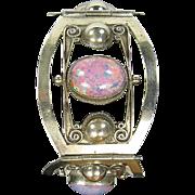SALE Wide Sterling Silver & Pink/Multi Cabochon Bracelet, Taxco