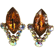 SALE Dazzling Vintage Orange and Clear Rhinestone Earrings