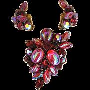SALE Kramer Red & Iridescent Rhinestone Earrings & Brooch