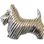 SALE Sterling Silver Scotty Dog Brooch Pendant
