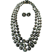 SALE Vintage Vendome Triple Strand Necklace and Earrings