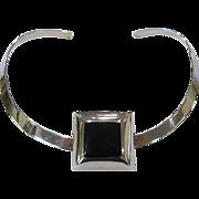 SALE Sterling Silver Choker Necklace with Sterling & Jet Slide