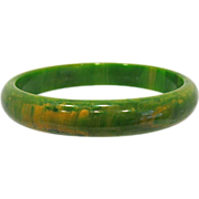 SALE Green with Yellow Marbled Bakelite Bangle Bracelet