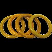 4 Bakelite Marbled Bangle Bracelets