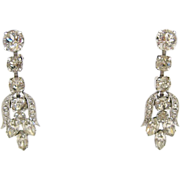SALE 1940s Eisenberg Rhinestone Dangle Earrings