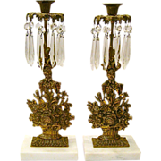 SALE Pair of Gilt Brass Girandoles