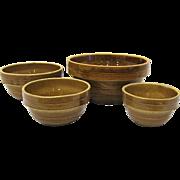 Graduated Set of 4 Monmouth Western Stoneware Mixing Bowls
