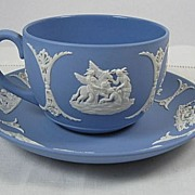 Wedgwood Blue Jasperware Cup and Saucer 1952