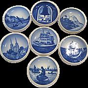 Set of 7 Royal Copenhagen Miniature Collector Plates